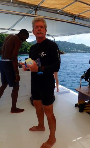 Capt. Ed between dives, Grenada
