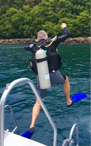 Randy, stepping in, Turtle Cay, St. Lucia