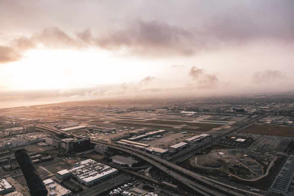 helicopter aerial view on the airport of Los Angeles, LAX