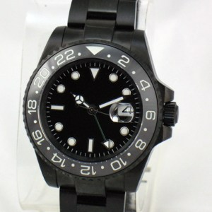 Custom 40mm PVD GMT Watch Sub Ceramic Bezel