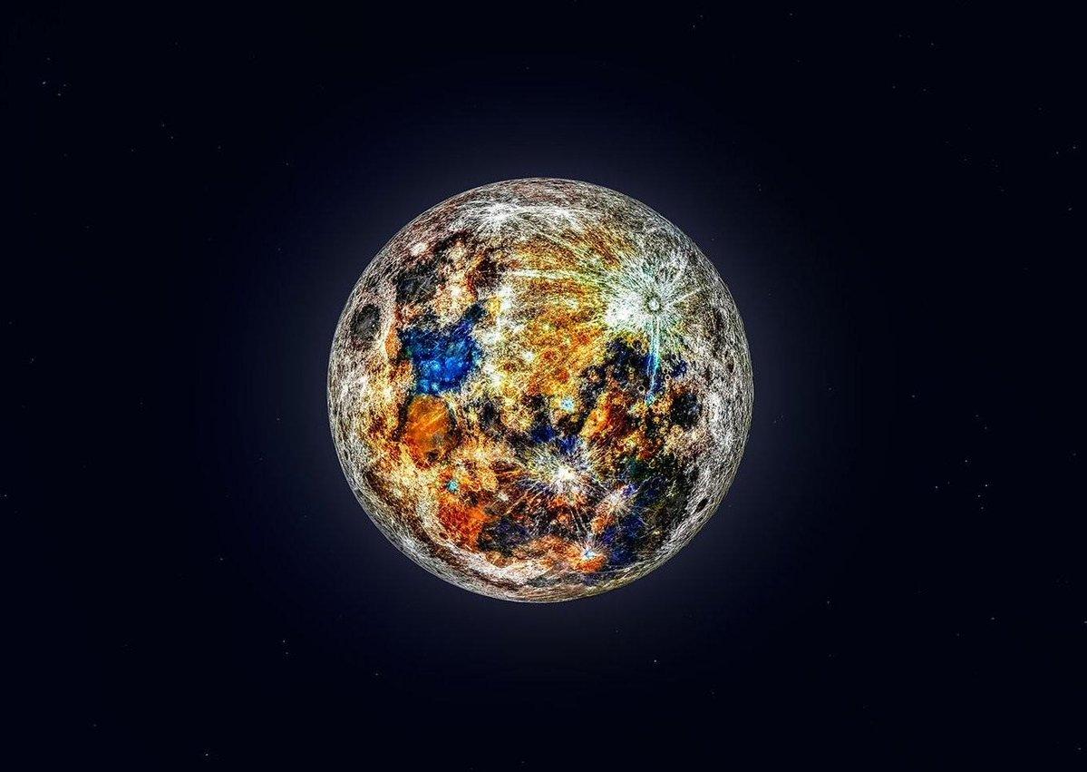 Colorida representación de los colores de la Luna