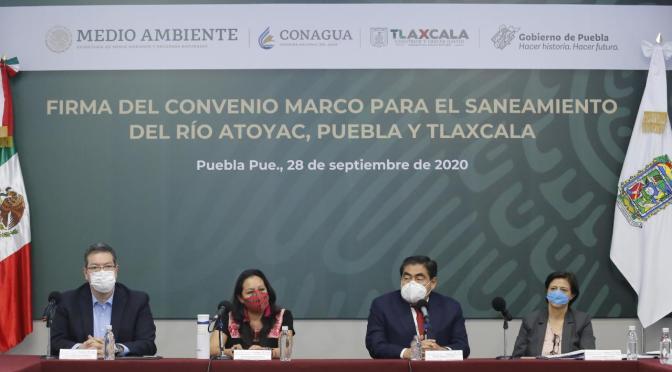 Firma el Gobierno de México convenio con Puebla y tlaxcala para el saneamiento del Río Atoyac