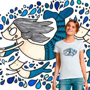 t-shirt femme la petite tribu sirène illustration par Abi
