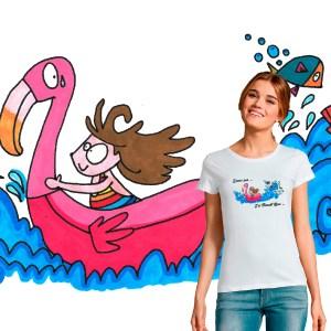 """T-shirt Femme """"j'peux pas j'ai flamant rose"""" illustration par Abi"""