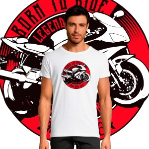 T-shirt Homme Born to Ride By Old School moto