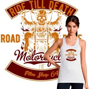 debardeur-Femme-motarde-skull rider