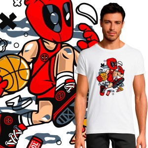 T-shirt Homme Pop Culture Deadpool NBA Basketball