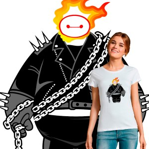 T-shirt femme pop culture crossover Baymax Ghost Rider