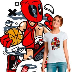 T-shirt femme pop culture Deadpool Nba Basketball
