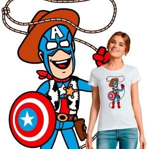 T-shirt femme crossover pop culture Shérif Woody Captain America disney toy storie marvel avengers