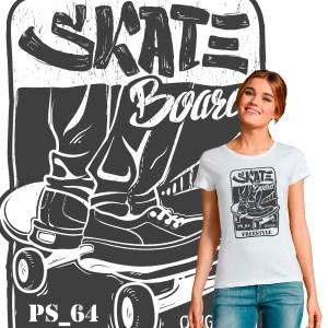 T-shirt Femme SkateBoard Freestyle PS 64