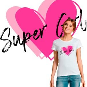 T SHIRT FEMME ST VALENTIN SUPER GIRL COEUR D AMOUR