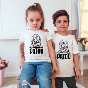 t-shirt enfant Patou, chien de montagne des pyrénées, la meilleure protection de vos troupeaux contre les attaques de l'ours