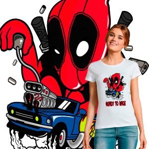 tee shirt femme crossover deadpool hotwheels ready to race