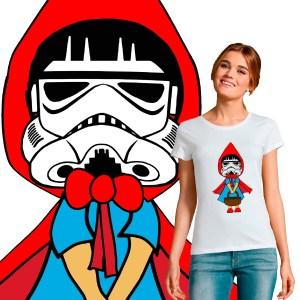 T-shirt femme Motif tee shirt le petit chaperon rouge en mode star wars stormtrooper