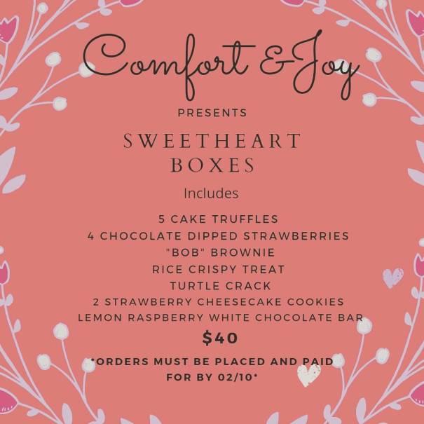 Valentine's Day menu from Comfort & Joy.