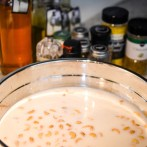 Soaking the cashews in almond milk for the dairy free alfredo sauce.