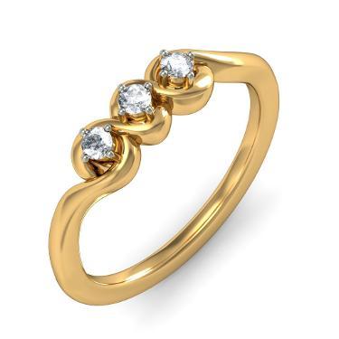 Gold Three Stone Anniversary Rings