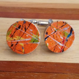 Paint Cufflinks – Orange