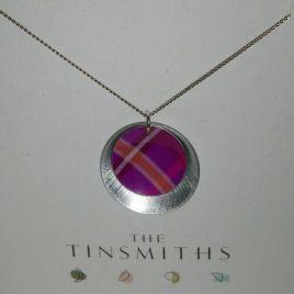 Pink Tartan Double Disc Necklace