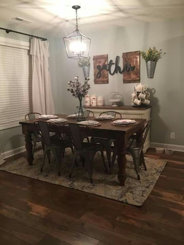 Stunning Farmhouse Dining Room Decoration Ideas 14