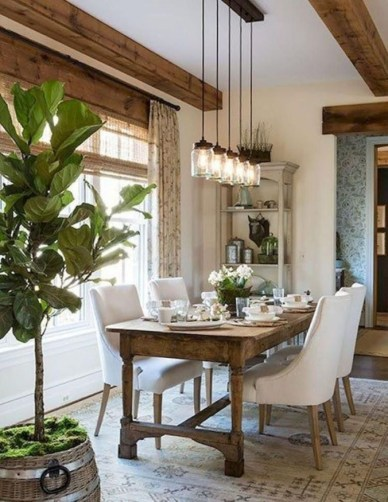 Stunning Farmhouse Dining Room Decoration Ideas 21