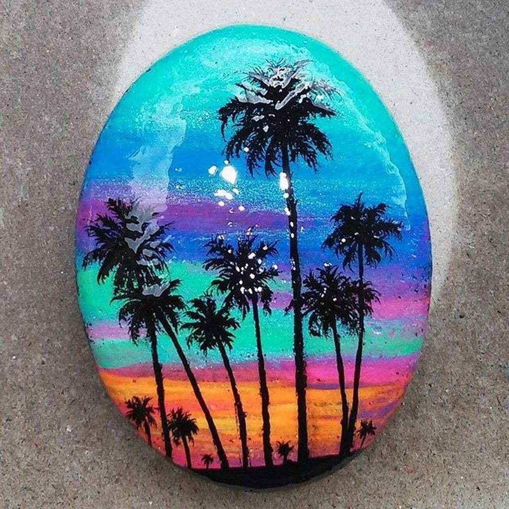 Sweet Rock Painting Design Ideas For Your Home Decor 27