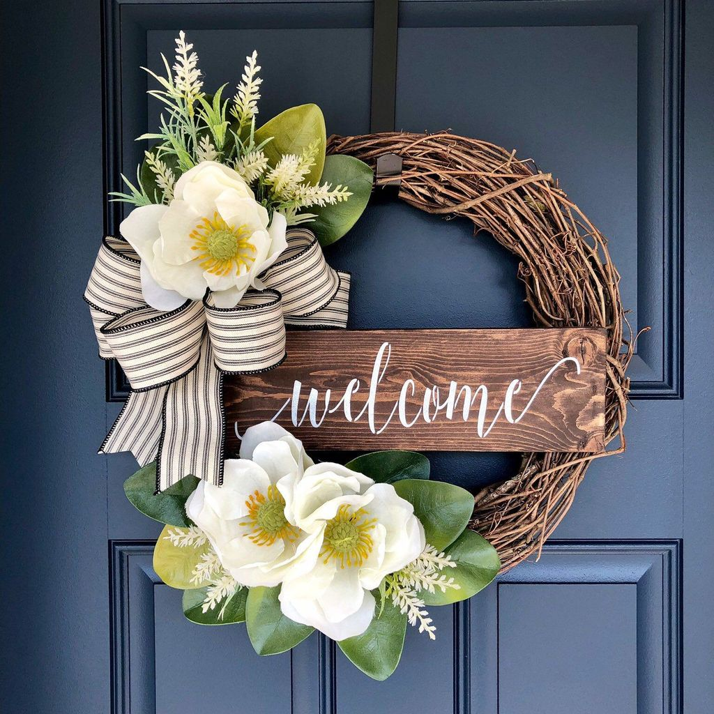 Brilliant Spring Door Wreaths Design Ideas 11