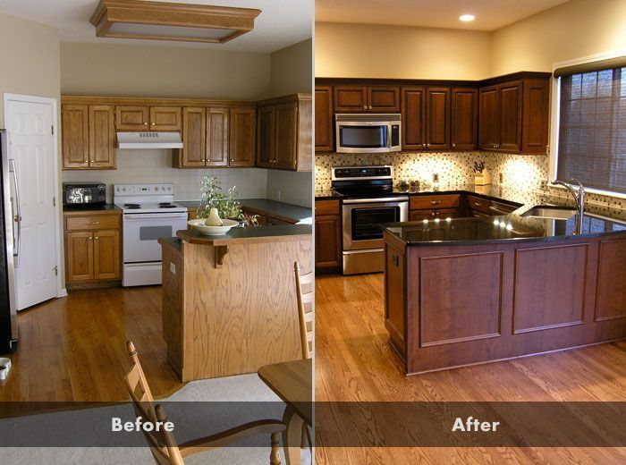 Updating Oak Kitchen Cabinets Before And After