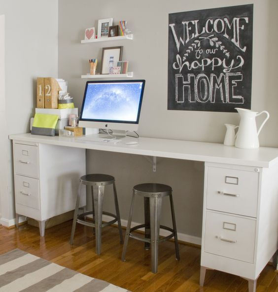 Home Office Desk With File Drawers