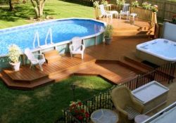 Backyard Above Ground Pool With Deck