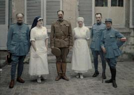 French military doctors and nurses photographed in front of Saint-Paul Hospital in Soissons, Aisne, in northern France, WWI.