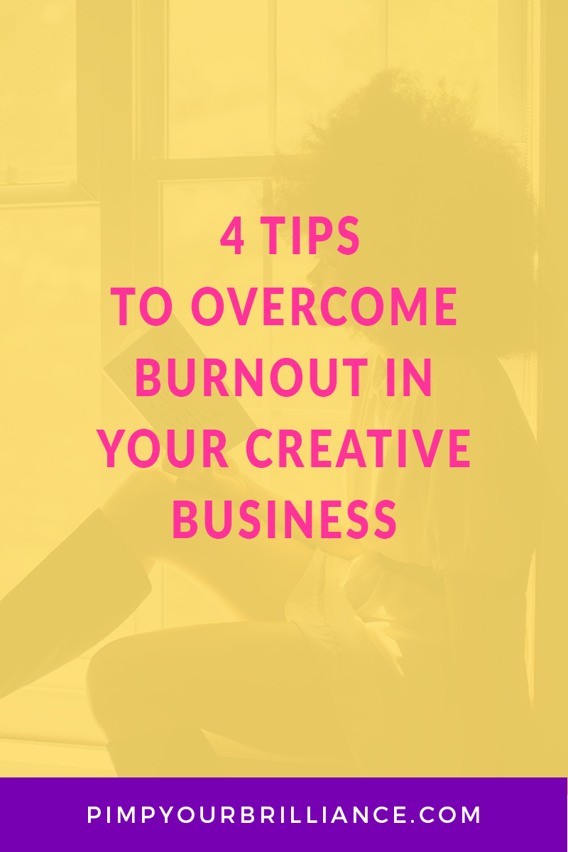 yellow background image with title text reading 4 steps to overcome burnout