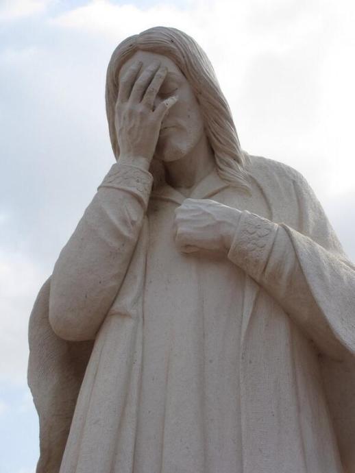 #breall Jesus du cocovado n'en reviens pas, Le brésil est battu par l'allemagne 7-1 en demi-finale