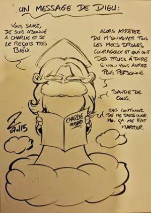 Sheik sur Twitter : «Un message de Dieu. #JeSuisCharlie #CharlieHebdo http://t.co/7qaAc6Pyvn»