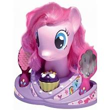 """Tête à coiffer mon petit poney Tête à coiffer """"poney"""" avec longs cheveux. Présentée sur un socle. Fournie avec accessoires.Avec Pinkie Pie"""