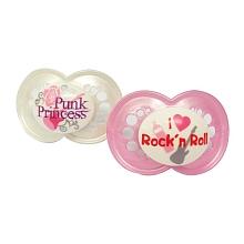 toys' r us 2 sucettes MAM silicone 18 mois et + et boîte stérilisable - Punk Princess & Rock'n Roll rose