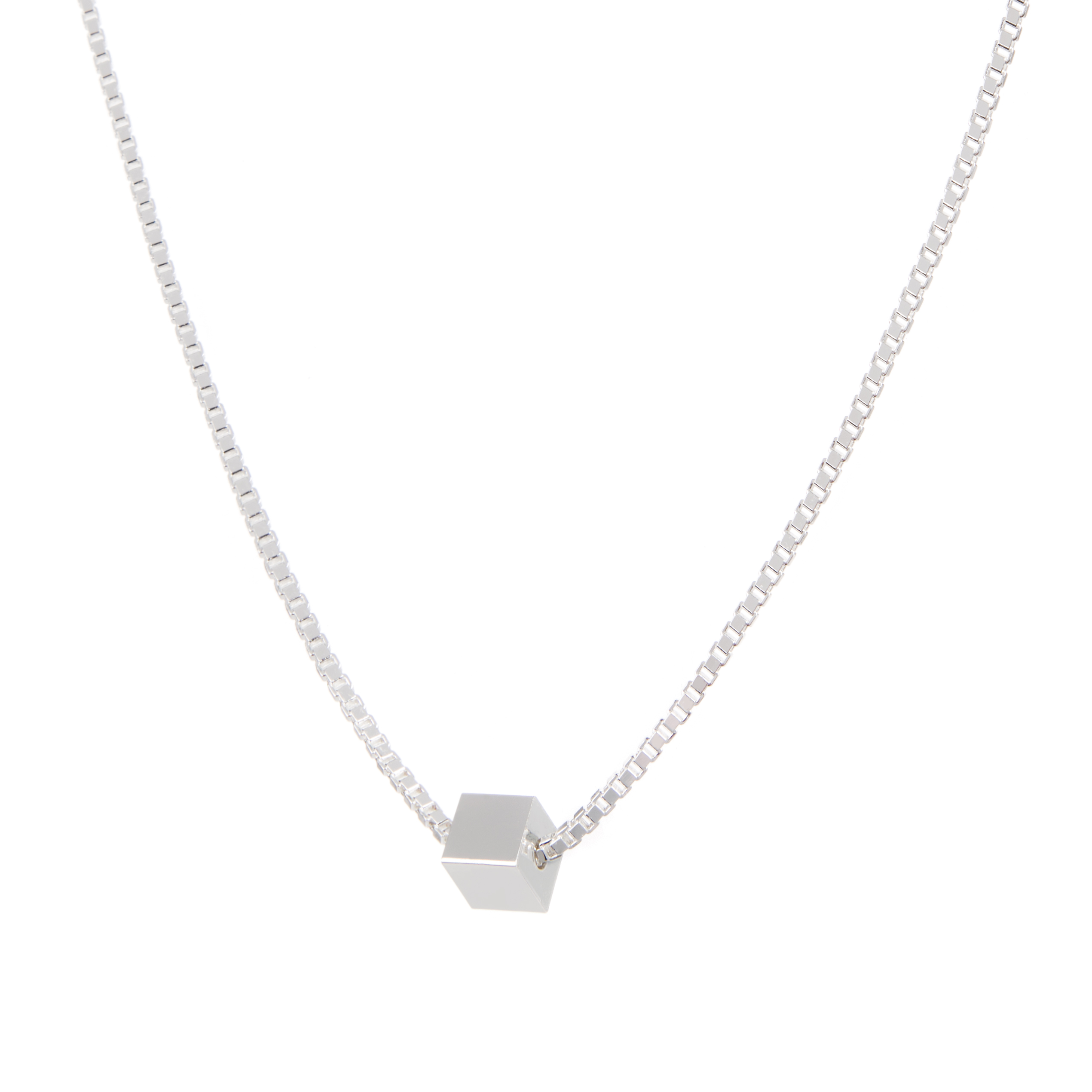 Cube Necklace Silver