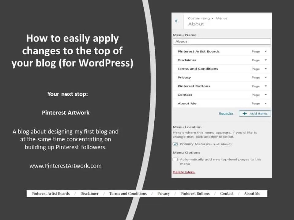 How to easily apply changes to the top of your blog for WordPress A blog for the love of Pinterest
