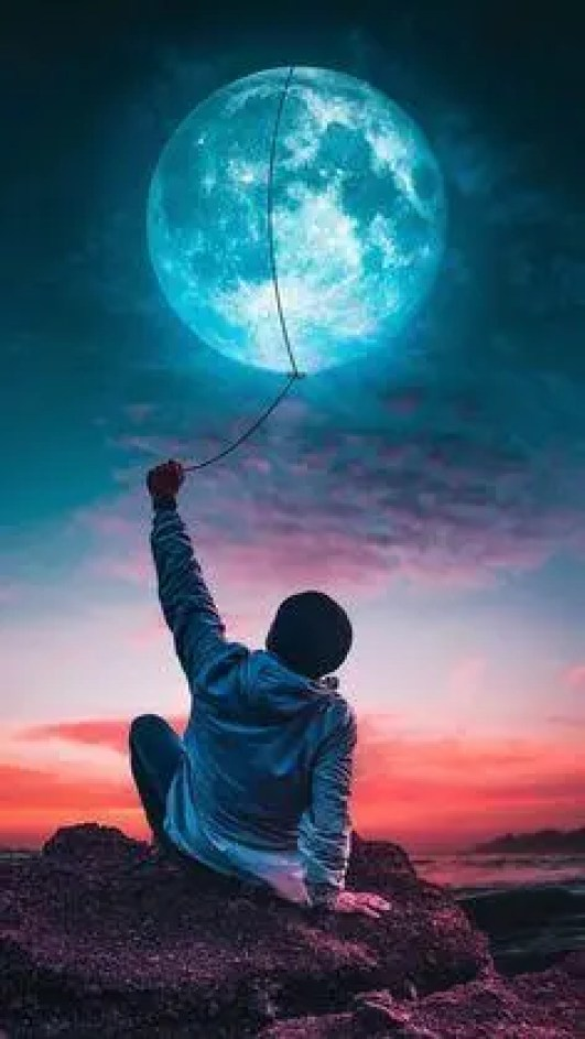 Creative photo lassoing the moon