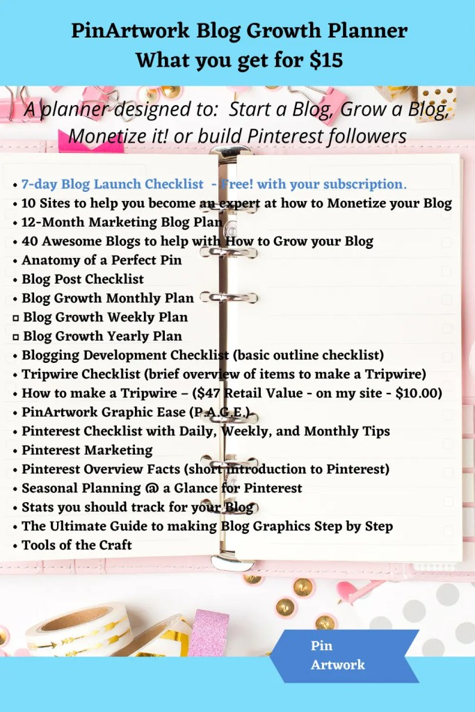 PinArtwork Blog Growth Planner 1 A blog for the love of Pinterest