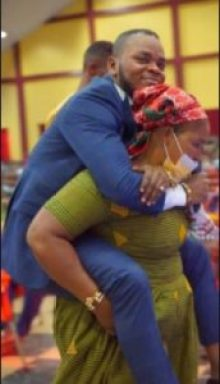 Crazy Moment Angel Obinim Made Old Woman With Chronic Waist Pain Carried Him At Her Back. 7