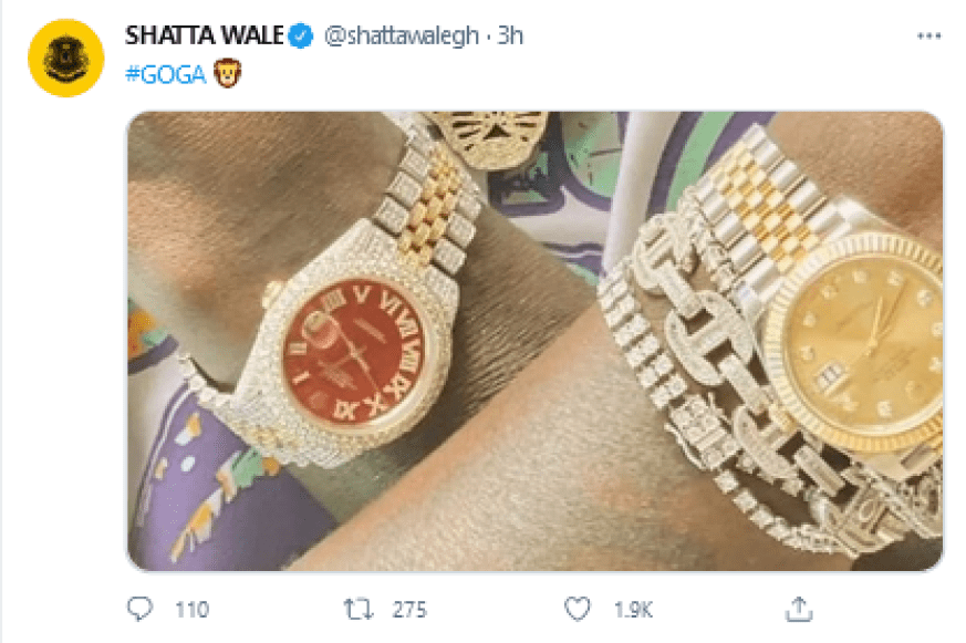 Shatta Wale shows off the original version of Medikal alleged fake Rolex Watch 2