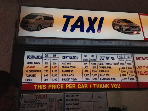 Taxi Kiosk at Krabi Airport