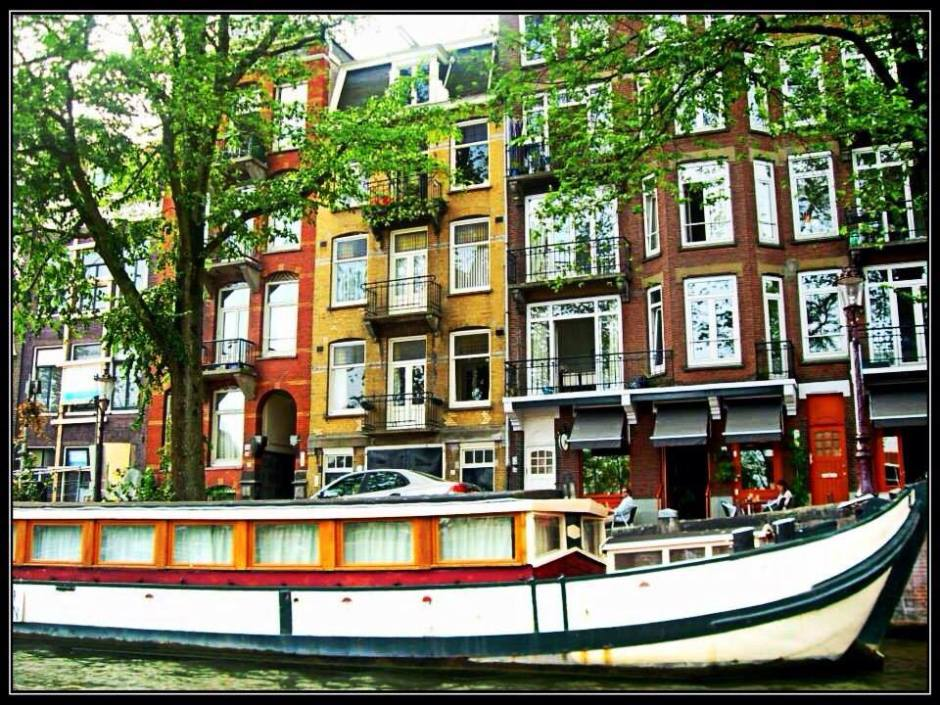 Houseboat along the canals of Amsterdam