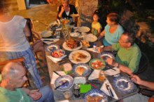 Dinner with the Greek family.