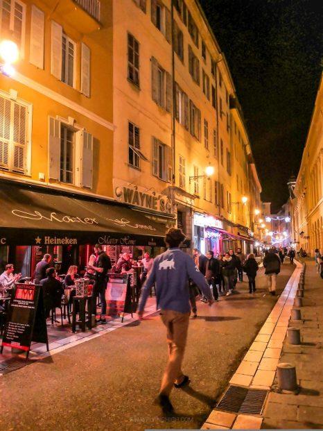 Nice, France at night