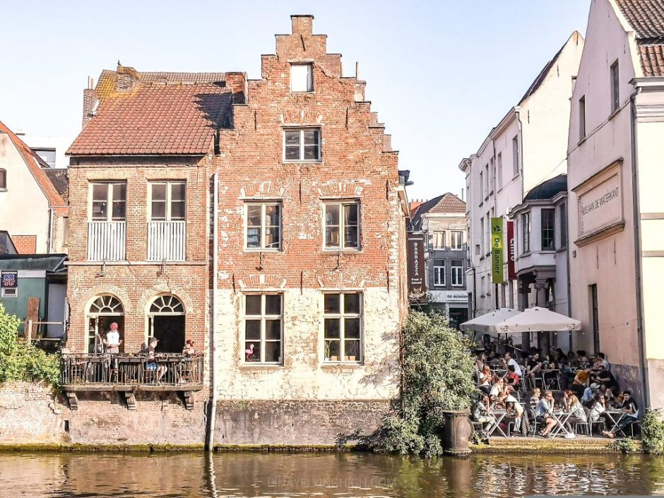 Bar and restaurant along the river in Ghent, Belgium
