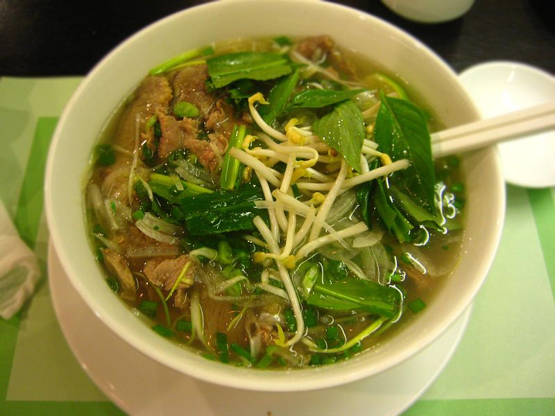 A steaming bowl of Beef Pho via Wikimedia Commons