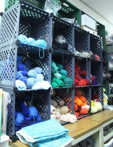 The most popular yarns are sorted by color for ease of use in the materials room. (Photo by Hannah Dickens)